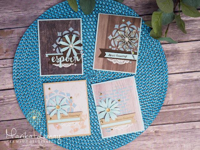 Cartes Stampin'Up! créées avec le jeu d'étampes Adorable marguerite