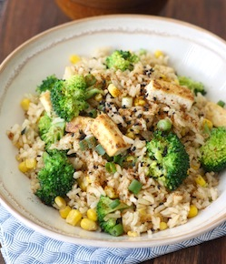 Garlicky Tofu Fried Rice with Japanese Seven Spice recipe
