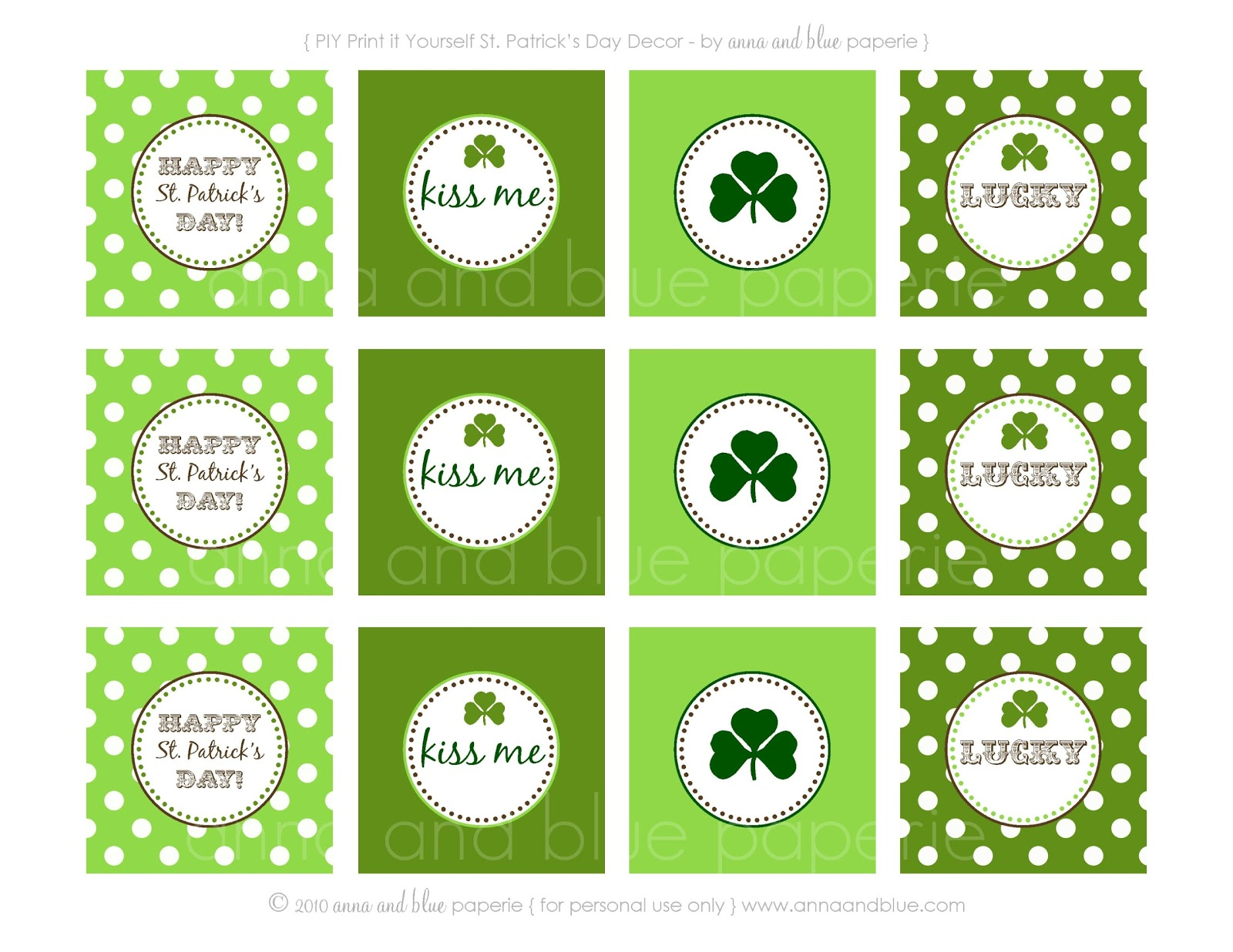 Anna And Blue Paperie Free Printable Happy St Patrick
