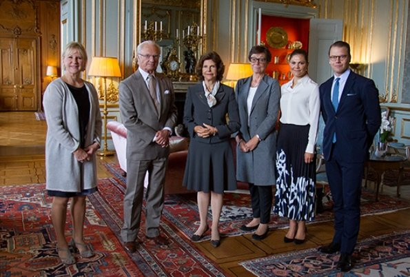 Crown Princess Victoria wore printed midi skirt. Queen Silvia,  Minister for Foreign Affairs Margot Wallström and Annika Söder