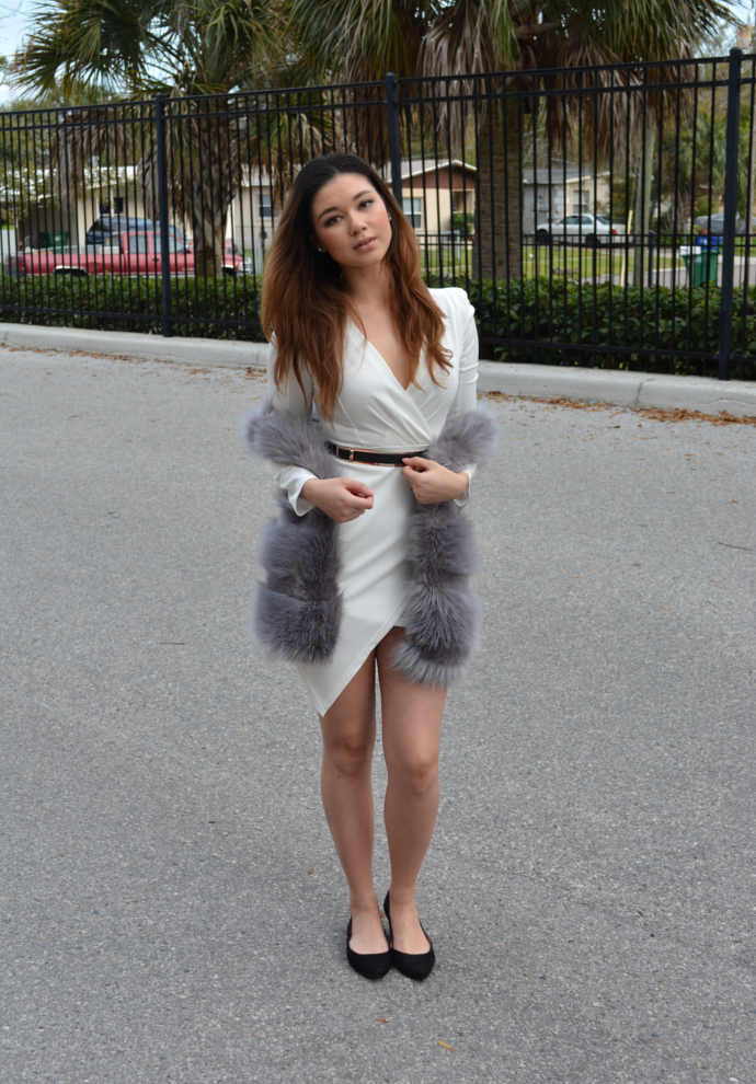 Asymmetric Bodycon Dress, Asymmetric Dress, Oasap, Long-Sleeve Surplice Mini Dress, Grey Faux Fur Vest, Faux Fur, Makemechic, Pointy Flats