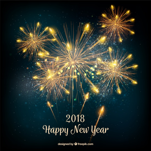 New year background with realistic golden fireworks Free Vector