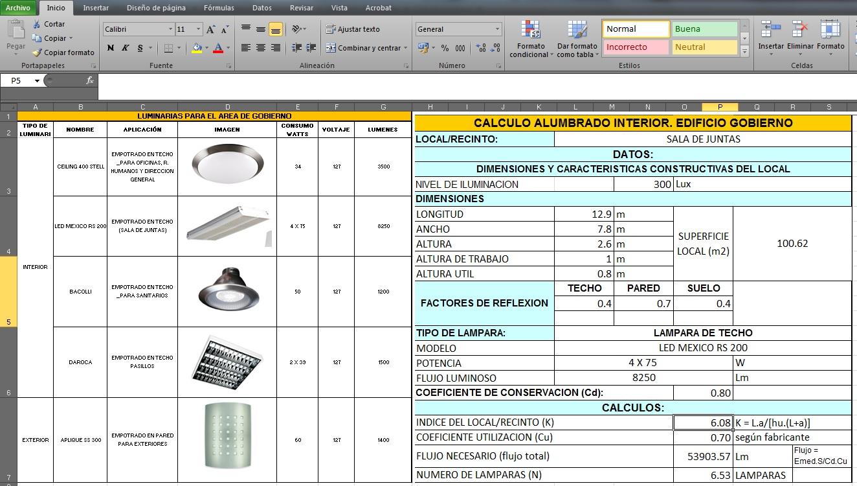 Excel para realizar el Cálculo Luminico