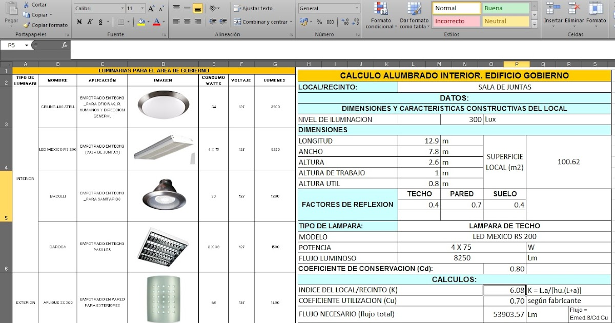 Excel c lculo lum nico o c lculo de iluminaci n - Catalogo de luminarias para interiores ...