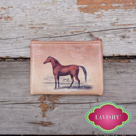 LAVISHY horse theme printed vegan leather key ring coin purses