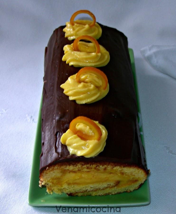 Biscuit Roulé de Naranja y Chocolate