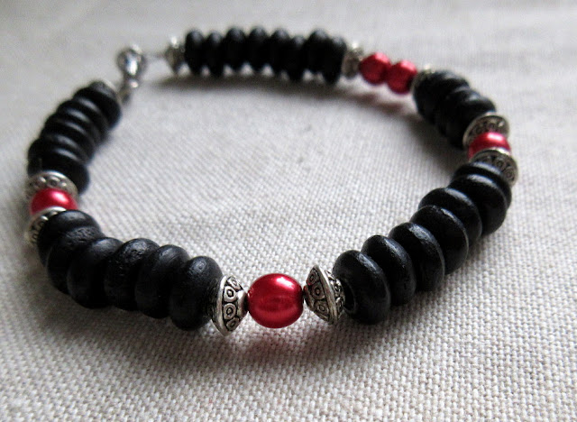 Physics science jewelry sciart black red bracelet