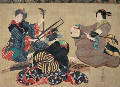 Three Musicians, O-Ei Katsushika Hokusai