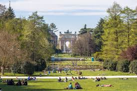 The beautiful green space of the Parco Sempione in  Milan, looking towards the Arch of Peace