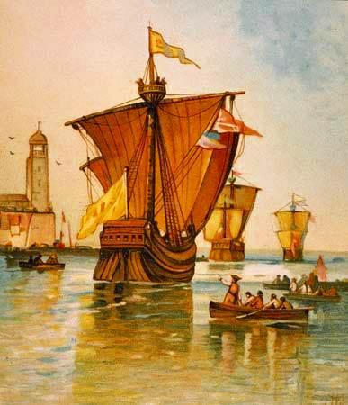 Ilustración que representa la flota de Cristóbal Colón partiendo de España en 1492.