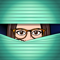 Miss Lawrence's cartoon bitmoji avatar, a brunette woman in big glasses, peers through a shuttered blind.