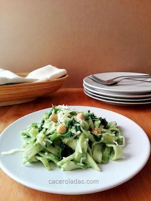 Tallarines con pesto de espinacas