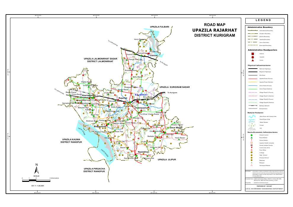 Rajarhat Upazila Road Map Kurigram District Bangladesh