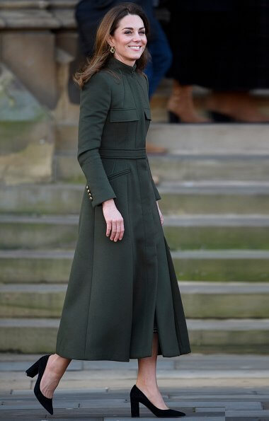 Kate Middleton wore a green Alexander McQueen coat, a print dress by Zara, Zeen ceramic earrings and Aspinal of London Mayfair bag