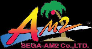 Logo de la división de SEGA: AM2. El texto AMS sobre una especie de tabla de surf azul y al fondo una palmera