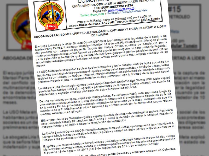Abogada de la USO Meta prueba ilegalidad de captura y logra libertad de lider de Guamal
