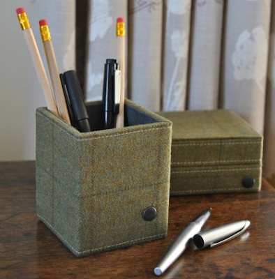 square pencil pot with tweed