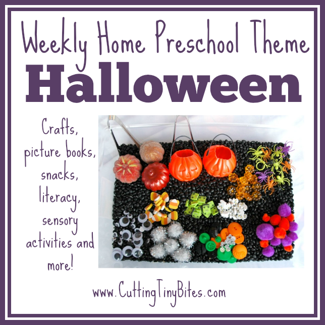 One week's worth of activities for EASY Halloween home preschool. Crafts, ABCs, 123s, sensory play, picture books, and more! Great for a homeschool pre-k unit.