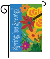 spring has sprung applique garden flag