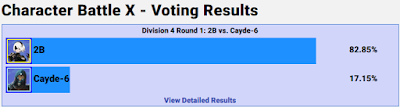 2B vs. Cayde-6 GameFAQs Character Battle X round 1 freeze five minutes
