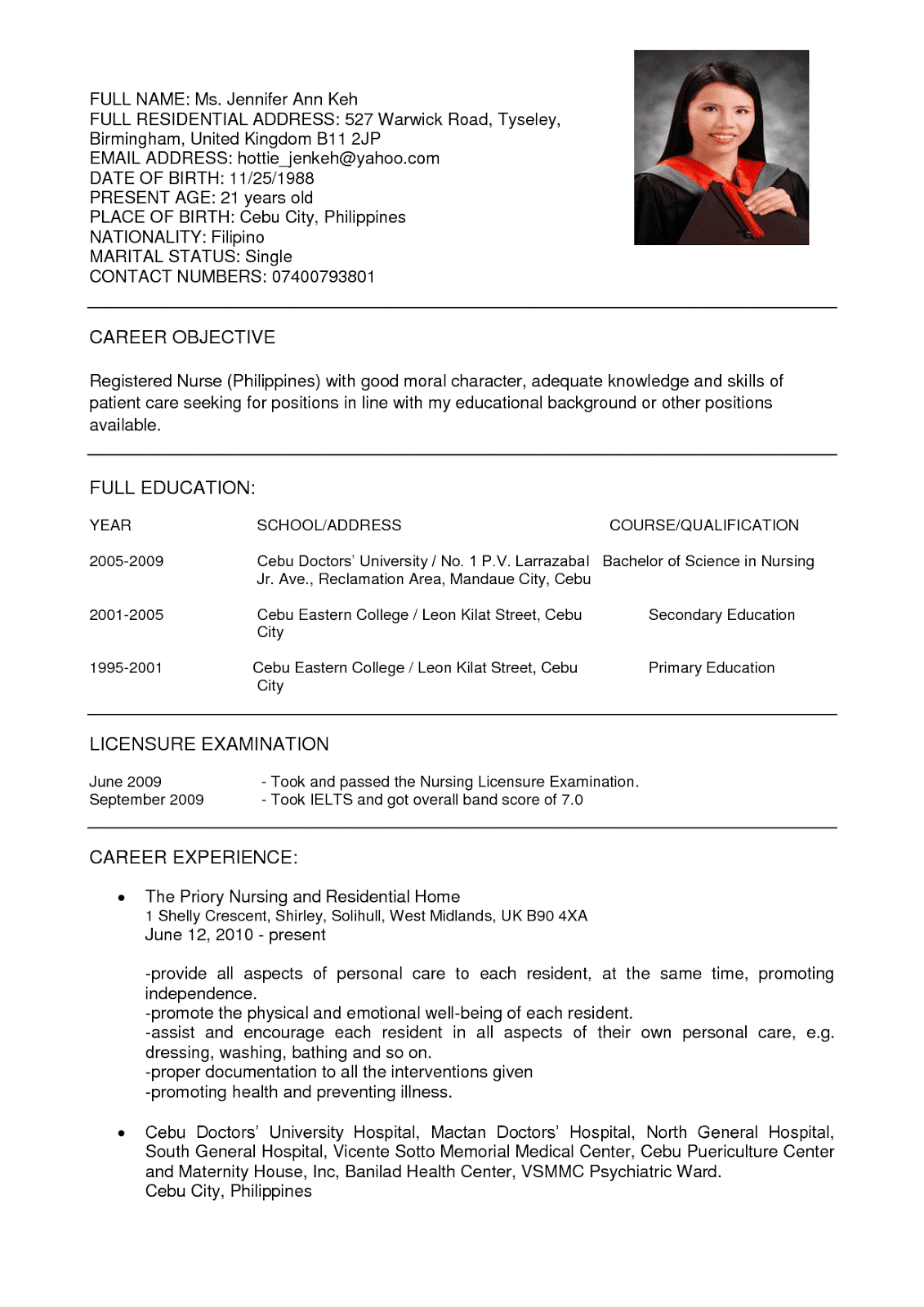 Nursing resume example
