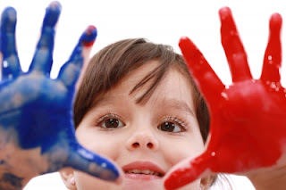 namc montessori congress activities natural child with paint on hands