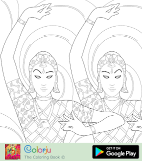 Free two Indian girls traditional classical dancing coloring page