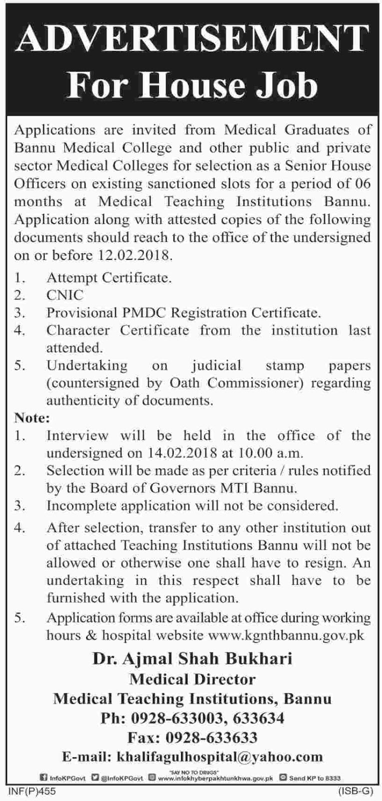 Latest Jobs in Bannu Medical College Graduation Qualification Jan 2018