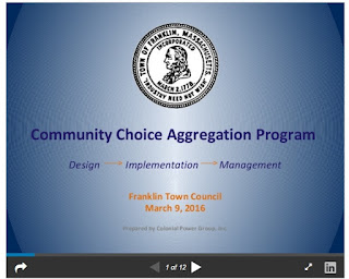 cover page of presentation to Town Council on Aggregation Program