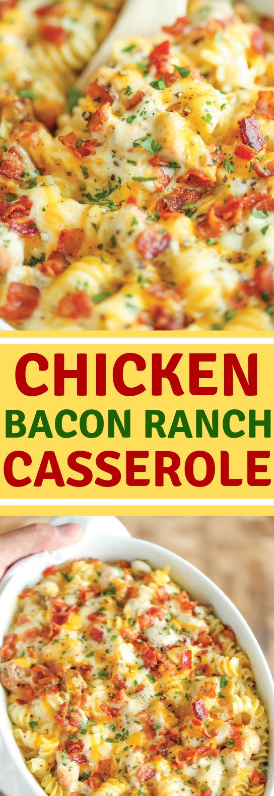 CHICKEN BACON RANCH CASSEROLE #dinner #food