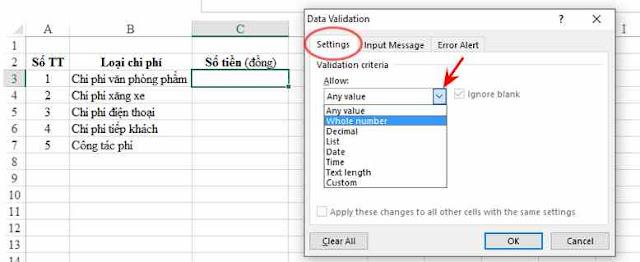 Data Validation: Thuộc tính hay thiết lập cố định giá trị trong ô excel1