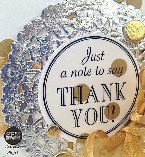 SRM Stickers Blog - Fancy Thank You Cards by Christine - #fancy #stickers #thanks #card #doily #silver #metallic