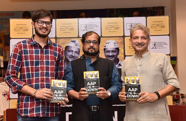 From L to R -Co-author Shrey Shah, Nikhil Wagle, author Mayank Gandhi at the book launch AAP & DOWN at Crossword Bookstores