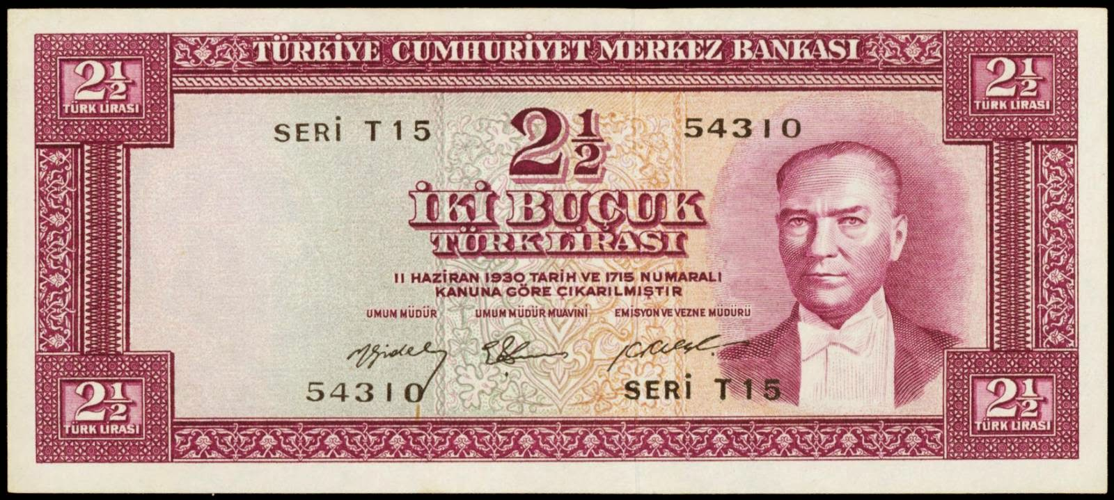 Turkey banknotes 2 1/2 Turkish Lira banknote 1930