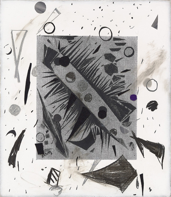 Laura Owens drawing Untitled, 2016 Screen printing ink, charcoal, pastel and felt on linen 32.5 x 28 inches