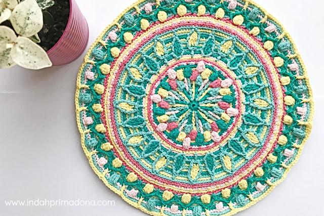 dandelion mandala, crochet mandala, rajutan mandala, merajut mandala, rajutan dandelion mandala, overlay crochet, overlay crochet mandala