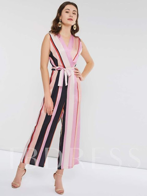 Casual Lace-Up Stripe Full Length Wide Legs Slim Women's Jumpsuits