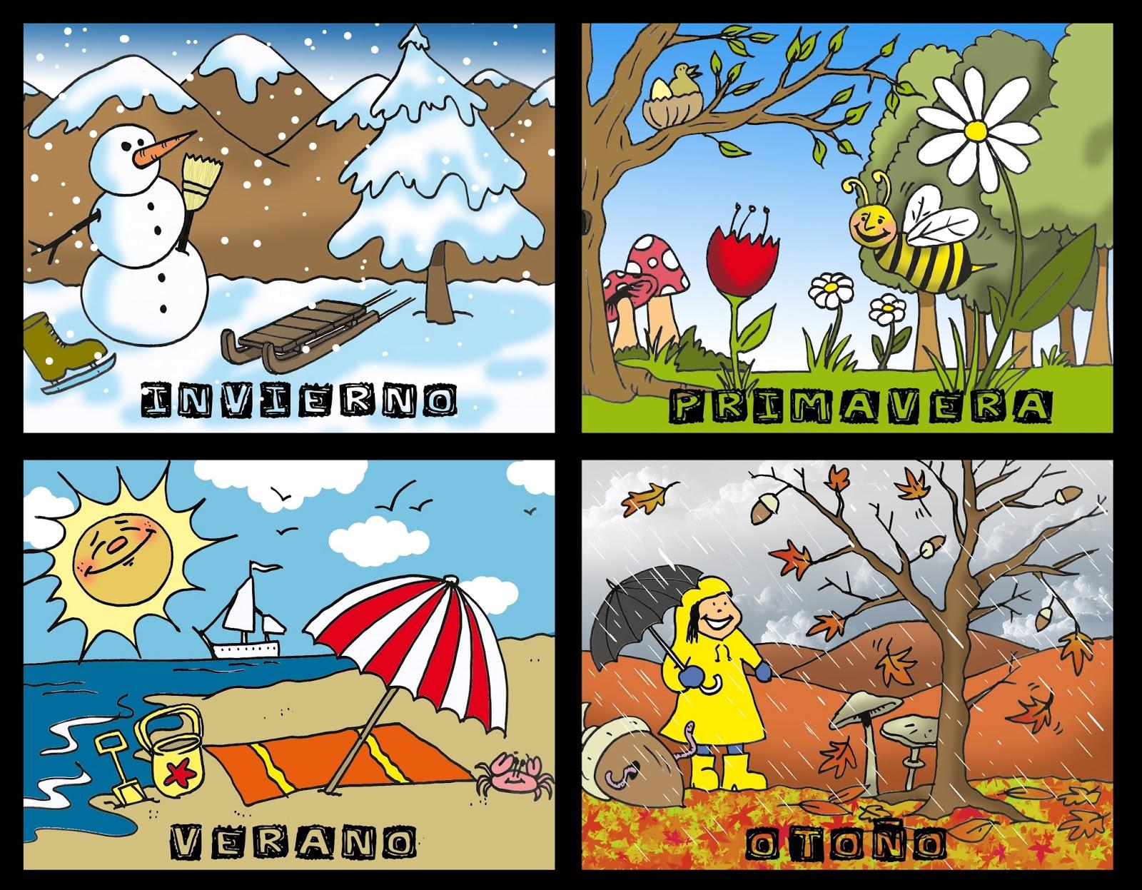 Las Ano Estaciones Para Ninos De Cuatro Dibujos Del