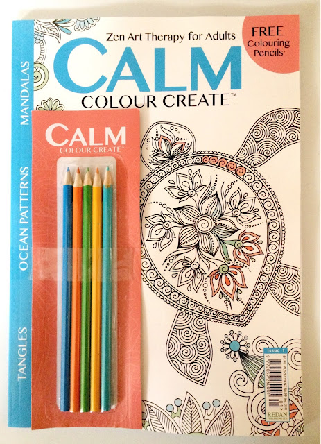calm colour create magazine with pencils