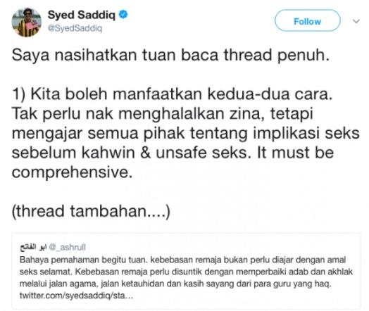 Pendapat Syed Saddiq Ajar Remaja Amalkan Seks Selamat Dikecam