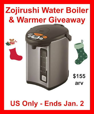 Enter the Zojirushi Water Boiler and Warmer Giveaway. Ends 1/2