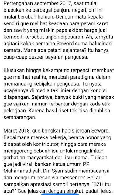 pengakuan mantan penulis seword jelekkan Ulama dan puji Jokowi