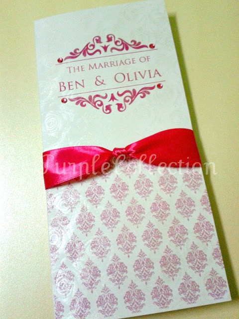 Pink Damask Wedding Invitation Card, Pink damask wedding, wedding, wedding invitation card, pink ribbon card