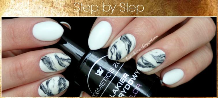 cosmetics zone 033, 003, marble nails tutorial, zdobienie paznokci