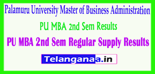 PU MBA Palamuru University MBA 2nd Sem Regular Supply Results 2018