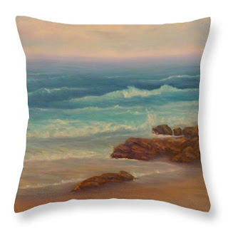 Coastal Throw Pillow Contemporary Beach Sunset