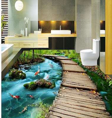 3d bathroom floor tile ideas with creek and lake side by side