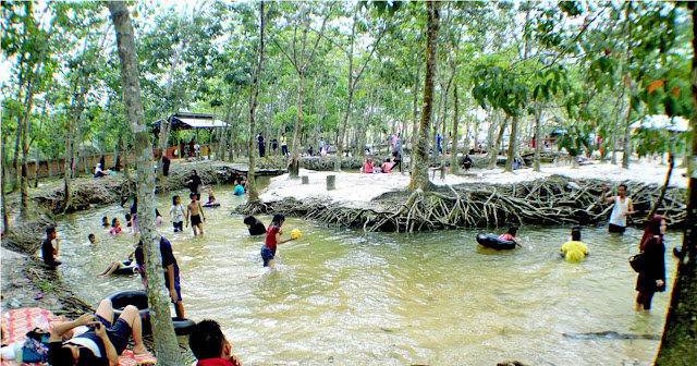 Sungai hijau sendiri terletak di desa Salo, Kampar. Pemandian alami ini dinamakan sungai hijau karena sekilas kalau dilihat dari kejauhan memang berwarna hijau karena efek dari dedaunan yang rimbun disekeliling sungai. lebar sungai hijau tidak lah terlalu luas, hanya sekitar 1,5-2 meter saja.