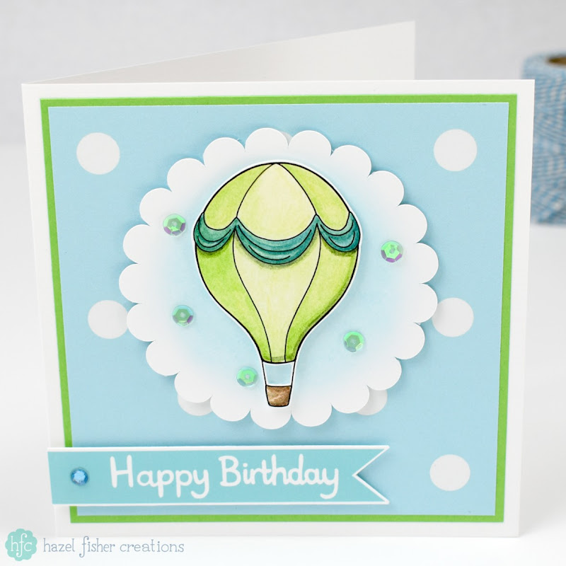 Birthday card made for Hot Air Balloon blog challenge on Hazel Fisher Creations - join in with the blog challenge and make your own card!