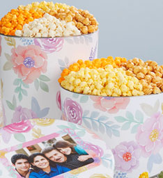 Fancy Floral Giveaway popcorn tins